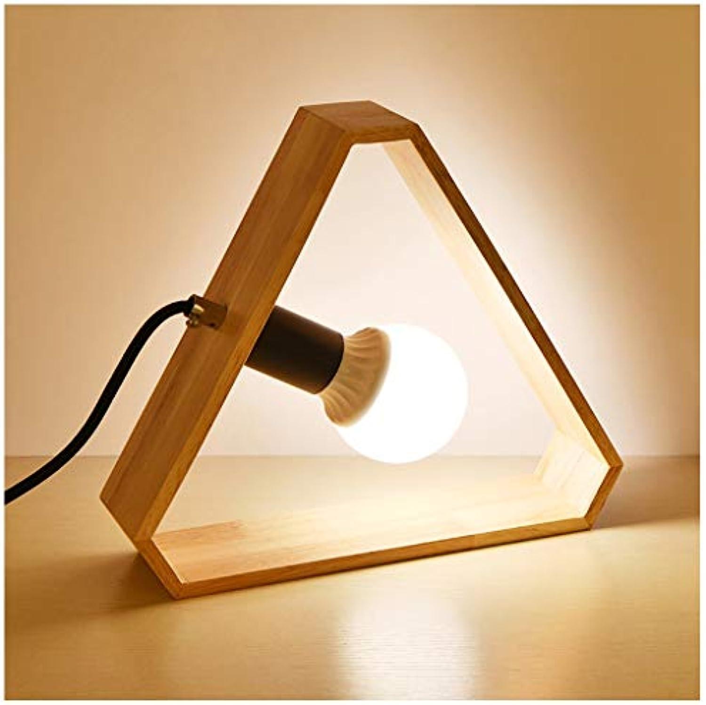 5W Nordic Massivholz Kreative Tischlampe, LED Einfache Moderne Schlafzimmer Nachttischlampe, Polygonal Square Round Log Warme Atmosphre Dekorative Tischlampe (Farbe   C)