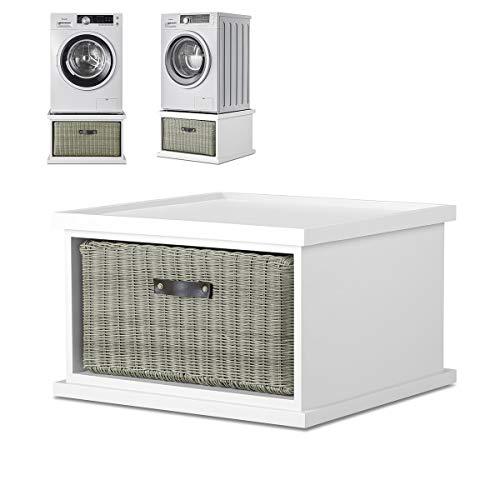 Tetbury white washing machine stand with storage basket. White laundry...
