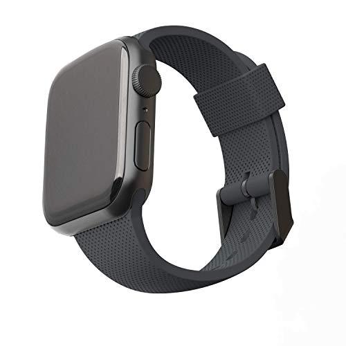 U by UAG [U] Dot Strap Silikon Armband für Apple Watch 42mm / 44mm [Watch SE, Series 6 / Series 5 / Series 4 / Series 3 / Series 2 / Series 1, Weiches Silikon, Edelstahl Verschluss] schwarz