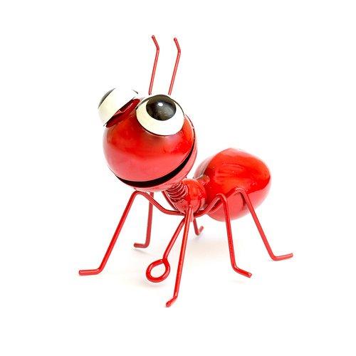Dekofigur Ameise zum aufhängen, Gartenfigur, Metallfigur, Blechfigur, Rot, Höhe ca. 10cm