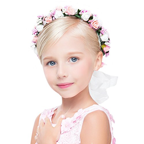 dressfan Blume Garland Stirnband Blume Handgelenk Hochzeit Braut Braut Brautjungfer Mädchen Headwear einstellbar