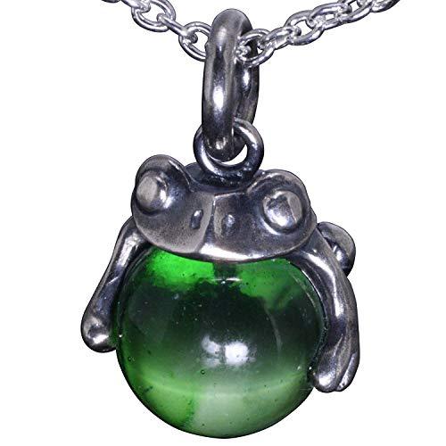 [龍頭] シルバー 950 蛙 玉 ペンダント トップ Green Glass グリーン ガラス メンズ