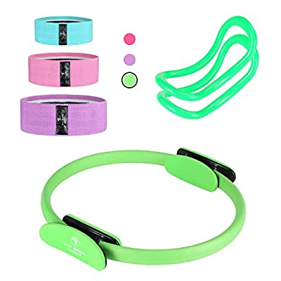 Pilates Ring Exercise Equipment for Inner & Outer Thigh, Abs, Legs, Muscle Strength includes Resistance Bands for Butt Squat Workout, Body Balance Stability & a Yoga Ring for Men and Women Fitness