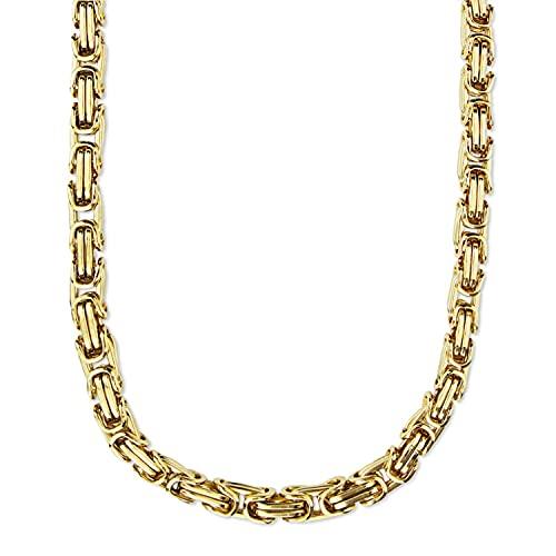 König Design 9 mm Königskette Armband Herrenkette Männer Kette Halskette Panzerkette, 65 cm Gold Edelstahl Ketten