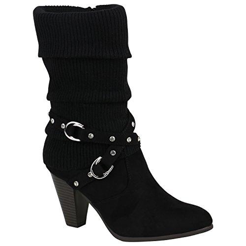 Klassische Damen Stiefel Gefüttert Stulpen Wildleder-Optik Schuhe 151596 Schwarz Strass 38 Flandell