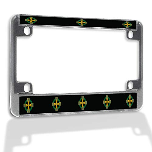 Metal Insert Bike License Plate Frame Celtic Cross B Weatherproof Motorcycle Accessories Chrome 4 Holes Solid Insert