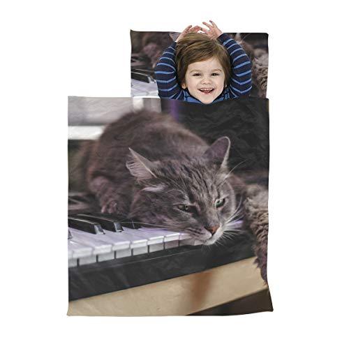 Kinder Nickerchen Matte Eine süße Katze spielt die Klavier Nap Mat Matte Waschbare weiche Mikrofaser Leichte Jungen Vorschule Nap Mat perfekt für Vorschule, Kindertagesstätte und Übernachtungen