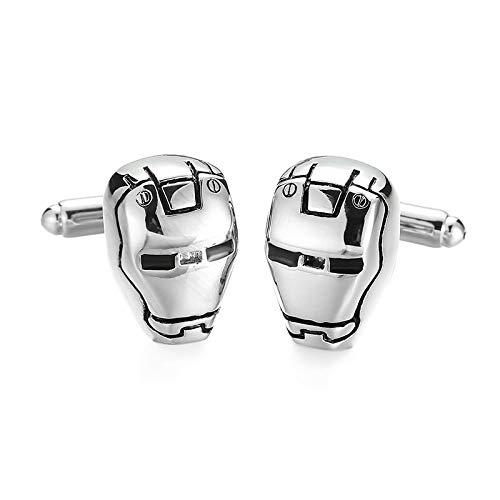Manschettenknöpfe Iron Man, glänzend, Silber, mit Geschenkbox, Schmuck für Herren, Feier oder Party