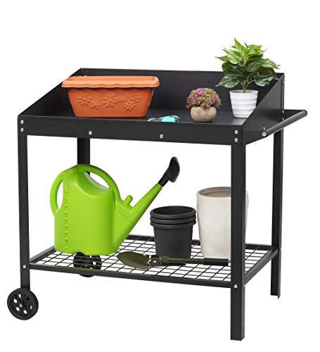 NEUN WELTEN Tavolo da Giardinaggio con 2 Ripiani e Piano di Lavoro in Metallo 95 x 55 x 90.5cm, Peso Netto 11,5kg, Stabile e Robusta (Grande)
