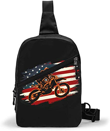 Got Dirt Bike Racing USA Bandera, bandera, bandera, bandera, bandolera, pecho, al aire libre, senderismo, viaje, bolsa de bolsillo personal para mujeres, hombres, resistencia al agua