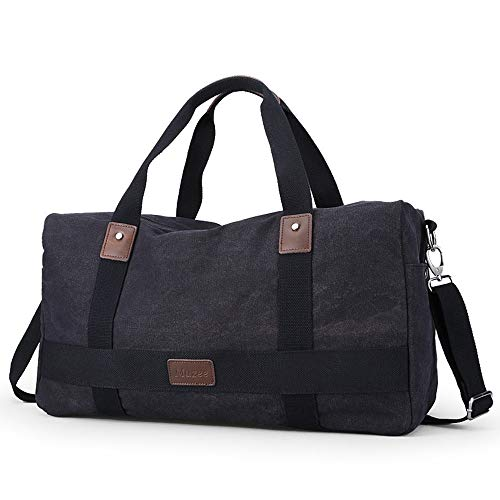 MxZas Overnight Weekend Bag Canvas Luggage Gym Sport Shoulder Handbag Crossbody Bag Carry On Bag Weekend Travel For Men Women (Color : Black, Size : 31x18x42cm)