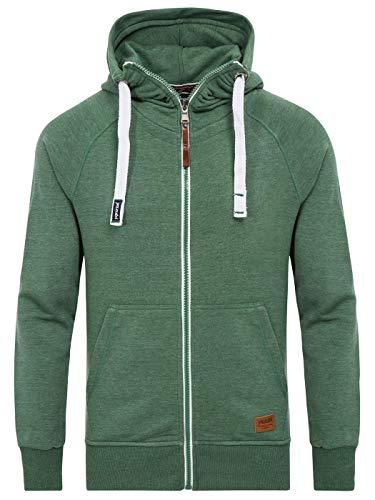 Yazubi Sweat Herren Jacke Zip Pullover Männer Sweatshirt Zip Hoody Kapuzenpullover Pulli Sweatshirtjacke Jacob, Grün (Myrtle Green 186114), S