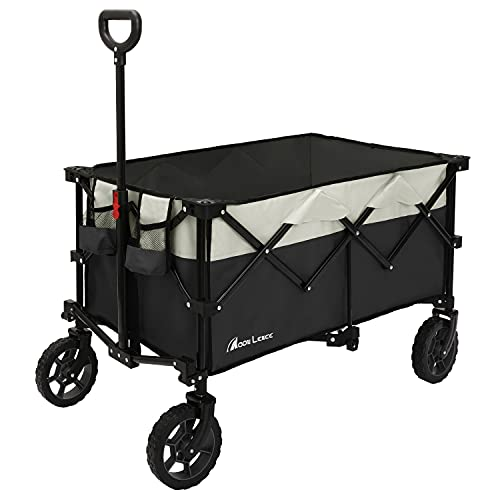 Moon Lence Collapsible Outdoor Utility Wagon Heavy Duty Folding Garden Portable Hand Cart with Universal Wheels, Adjustable Handle & Drink Holders