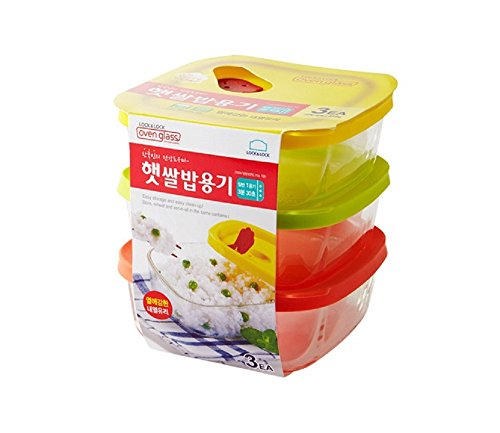 LockampLock Oven GLass Cooked Rice Storage Container for Freezer Set of 3