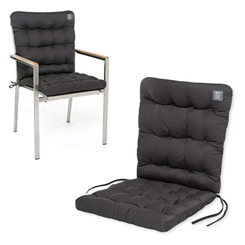 HAVE A SEAT Luxury   Gartenstuhl Auflage Niedriglehner - Bequeme Stuhlauflage, waschbar bei 95°C, Trockner geeignet, Sitzauflage Outdoor (1 Stück - 100x48x8 cm, Grau-Anthrazit)