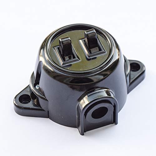 Schalter Aufputz Doppel Serienshalter Schaltereinsatz, 10A/250V, IP20 Schwarz Retro Bakelit-Optik-alt aus Kunstoff