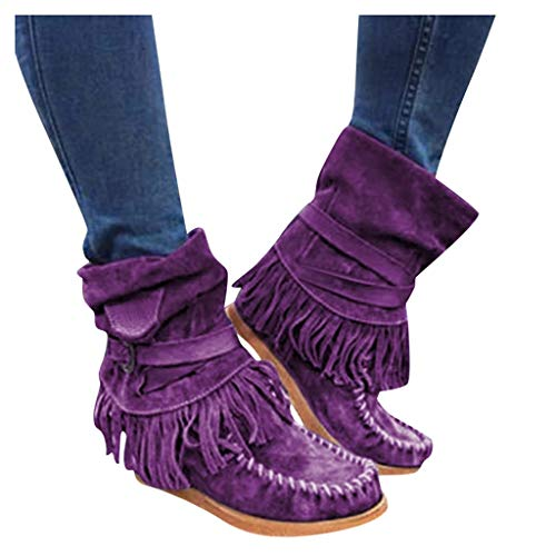 Fainosmny Ladies Short Ankle Boots Flat Shoes Boots Winter Boots for Women Plus Size Roman Slip On Cowboy Booties Work Shoes Purple