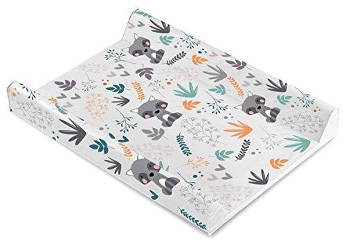 Baby Wickelauflage Wickelmulde Wickelunterlage 50 x 70 cm abwaschbar wickeltischauflage Wickelaufsatz für Kinderbett Mädchen Junge (Waschbär Waldtiere)