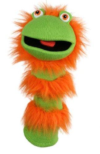 Unbekannt Handpuppe - Socke Strumpf -  grün & orange  - Sockenpuppe sprechend - Ginger - Handspielpuppe / Kuscheltier - für Kinder & Erwachsene - Handpuppen