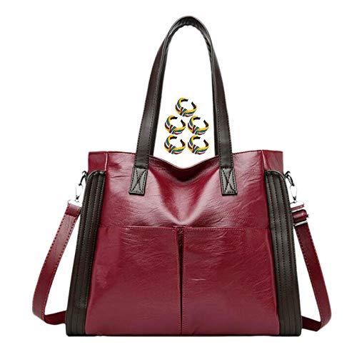 GGLZMMF Handbag Leather Lady Shoulder Bag Large Capacity Messenger Bag Simple Retro Soft Leather Mother Bag Wine Red Blue Black Wine red-OneSize