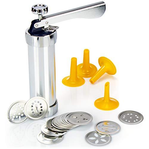 COM-FOUR® Prensa de pastelería con 20 accesorios y 4 accesorios de pulverización - Pistola de churros - Pistola de pastelería