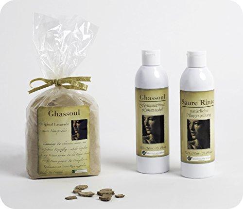 Set completo de polvo de arcilla / ghassoul para el cuidado del cabello y del cuerpo sin químicos ni jabón.