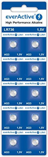 everActive AG3 1.5V, 10x Batterien, Alkaline, Mini, G3 LR736 LR41, 5 Jahre Haltbarkeit, 10 Stück – 1 Blisterkarte, Silber, EVAG3