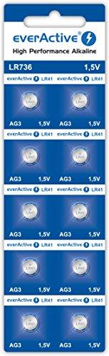 EverActive AG3 - Pilas alcalinas de 1,5 V (10 Unidades, Mini G3 LR736 LR41, 5 años de Vida útil, 10 Unidades)