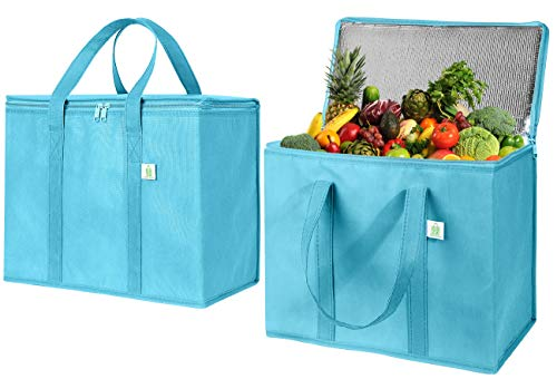2 Pack Insulated Reusable Grocery Bag by VENO, Durable, Heavy Duty, Large Size, Stands Upright, Collapsible, Sturdy Zipper, Made by Recycled Material, Eco-Friendly (Cyan, 2)
