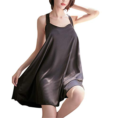 Diseño De Cuello Grande De Material De Seda De Hielo Sexy Informal Y Cómodo. Pijama Sexy con Diseño De Espalda con Fugas. Ropa De Casa Transparente (Talla única)