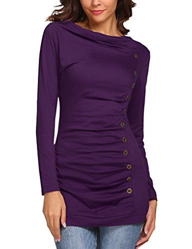 Sherosa Women's Cowl Neck Long Sleeves Buttons Decor Ruched Blouse T-Shirt Tops (S, Purple)