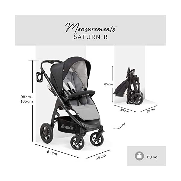 Hauck Hauck Unisex Promenade Chaises Black/Grey Hauck Maximum comfort: backrest and footrest adjustable to the lying position, extra large canopy, height adjustable handlebars, cup holders and foot covers All terrain: the stroller is suitable for both the city and the countryside thanks to the suspension, the high-quality rubber profile and the swivel and lockable front wheels. Swivel: The lightweight sports chair with removable front bar can be rotated towards parents or in moving direction easily in a few seconds. The chair supports a weight of up to 25 kg. 6