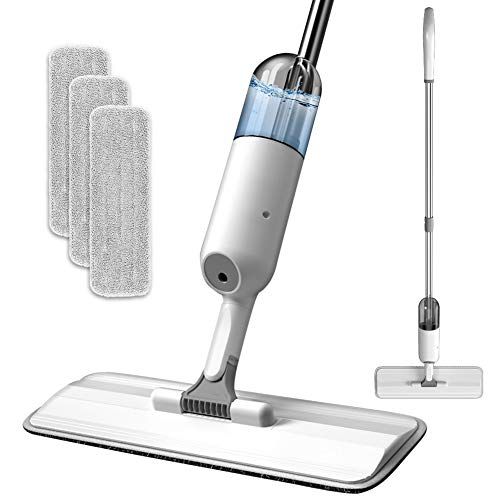 RIGHTWELL Pulitore con funzione spray per pavimenti, con 3 panni di pulizia, rotazione a 360 gradi, con serbatoio dell'acqua da 350 ml