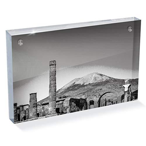Destination Vinyl ltd - Bloque de fotos (acrílico, 6 x 4, BW, Monte Vesubio Italia Pompeia) | Escritorio de oficina Art 39297