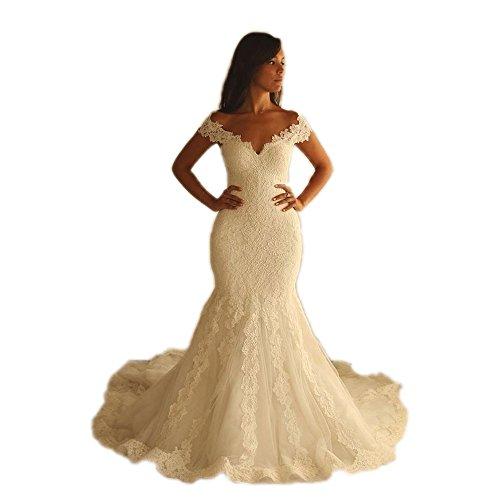 Fenghuavip V-Neck Ivory Off-Shoulder Long Train Brides Wedding Gowns Mermaid (8)
