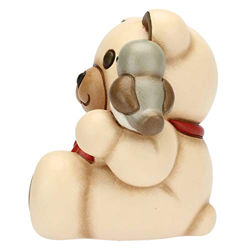 THUN - Teddy con Pettirosso e Scatola di Latta - Formato Piccolo - Linea Preludio d'inverno - Ceramica - h 10x9,2x7,8 cm