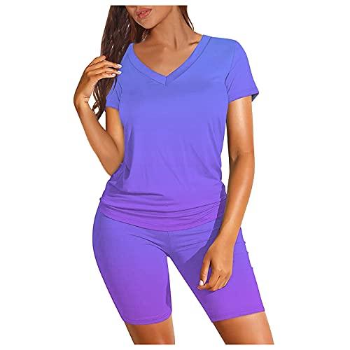 t-Shirt Completi Biker Shorts Set Donna Stampa Sfumata Manica Corta Scollo a V Due Pezzi (XXL,1blu)