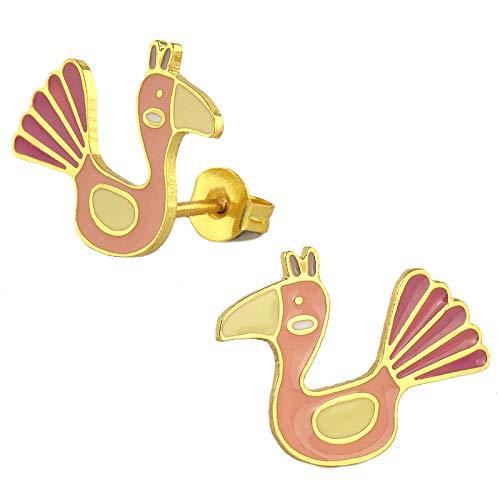 Monkimau - Pendientes para niña (latón chapado en oro de 18 quilates), diseño de pavo real