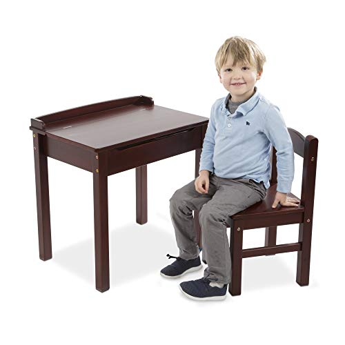 "Melissa & Doug Child's Lift-Top Desk & Chair, Kids Furniture, Espresso, 2 Pieces, 16.1"" H x 23.6"" W x 23.2"" L"