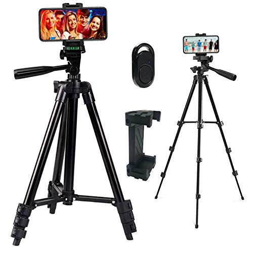 Phone Tripod, Vosscoss 42 Inch Tripod for iphone, Smartphone, Lightweight Travel Tripod, DSLR Digital Cameras Stand with Phone Holder & Wireless Bluetooth Remote Control - Black
