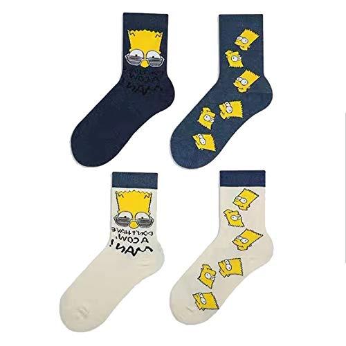 MIZZM Calcetines de vestir coloridos y divertidos para hombre, divertidos dibujos animados con patrón de Simpson, calcetines de algodón con diseño novedoso, 4 pares