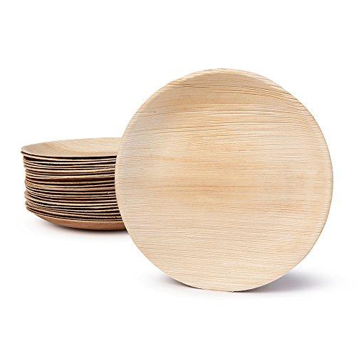 BIOZOYG DTW05389 Einwegteller aus Palmblatt, 25 Stück, rund, Ø23 cm, kompostierbar