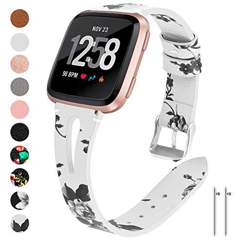 Ansblue Lederarmband, kompatibel mit Fitbit Versa/Versa Lite/Versa 2 Smartwatch, schlankes Vintage Lederarmband Ersatz für Frauen Mann, Armband Zubehör Kompatibel mit Versa Smartwatch