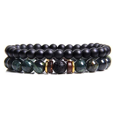 Beaded Bracelet,2Pcs Natural Handmade Unisex Black Agate Stone Set Fashion Couple Bracelets Bangles Classic Natural Lava Stones Charm 8Mm Beads Bracelet Women Men Gift(Dark Green)
