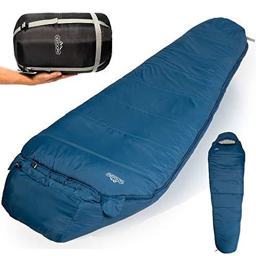 Outdoro Schlafsack 3-4 Jahreszeiten für Outdoor & Camping im Frühling, Herbst & Winter - für Erwachsene Damen & Herren - Geringes Packmaß (blau)