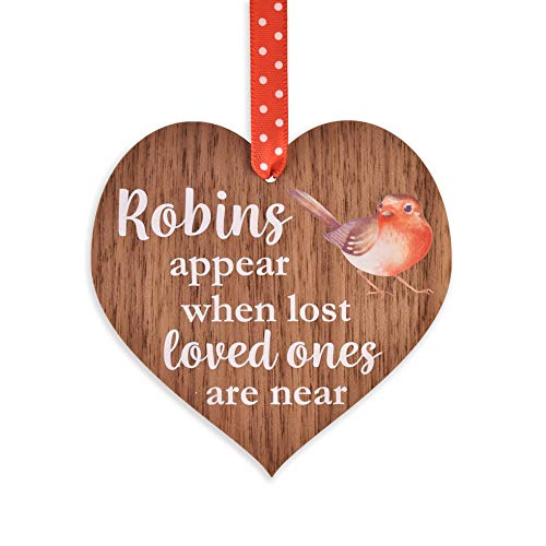 Manta Makes Robins appear when loved ones are near - Wooden Hanging Heart Memorial Christmas Tree Decoration Plaque Bauble