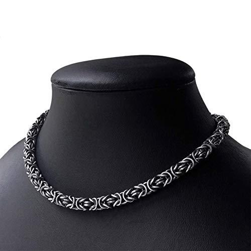QZY Collier de Viking. Roi Lourd Chaîne en Argent Collier Byzantin. Chainmaille Argent Oxydé Collier. Bijoux Viking