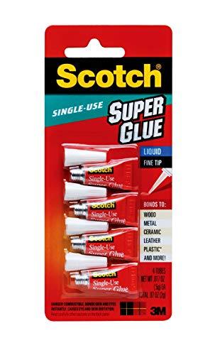 Scotch Super Glue Liquid 07 Ounces AD114 4 Count