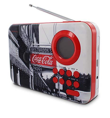 Coca-Cola 477510 Radio portable FM MP3 avec ports USB/micro SD et fonctions réveil/sleep/snooze, entrée audio
