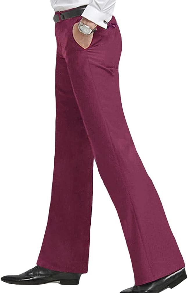 1960s Men's Clothing HAORUN Men Bell Bottom Pants 60s 70s Vintage Flare Formal Dress Trousers Slim Fit  AT vintagedancer.com